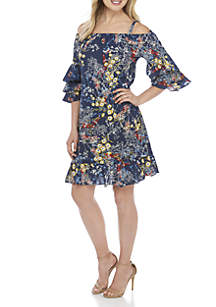 Off-The-Shoulder Printed Tier Sleeve Dress