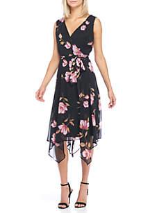 Sleeveless Faux Floral Wrap Dress