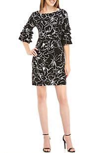 3/4 Ruffle Sleeve Printed Shift Dress