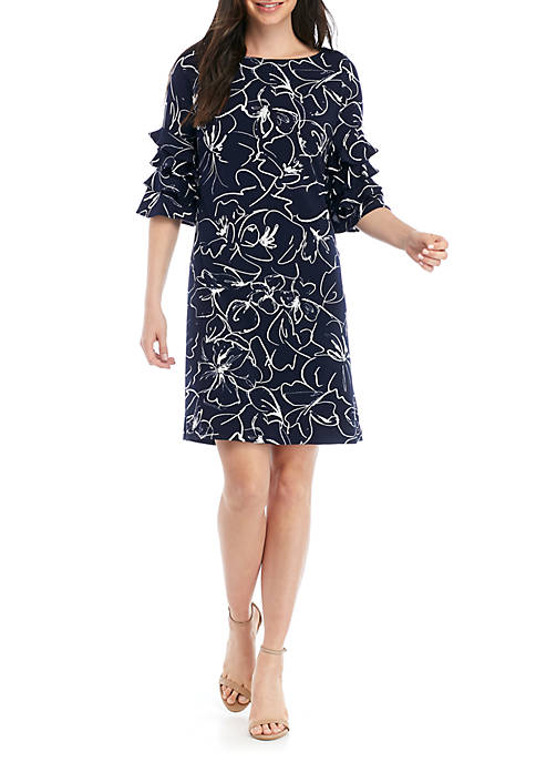 Gabby Skye 3/4 Ruffle Sleeve Printed Shift Dress