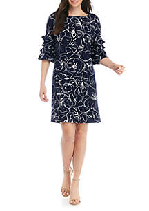 Gabby Skye 3/4 Ruffle Sleeve Printed Shift Dress