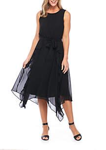 Sleeveless Chiffon Corkscrew Dress