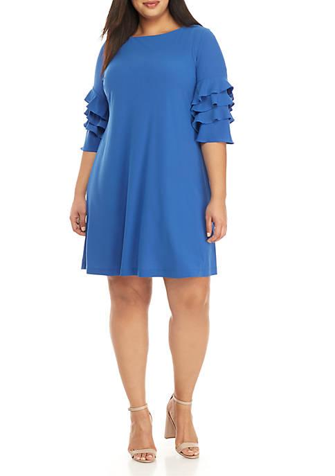 Gabby Skye Plus Size Ruffle Sleeve Gigi Sheath
