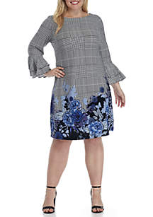 Plus Size Long Ruffle Sleeve Plaid Floral Sheath Dress