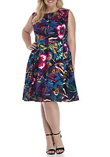 Plus Size Cap Sleeve Printed Fit and Flare Scuba Dress