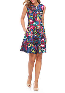 Cap Sleeve Printed Fit-And-Flare Dress