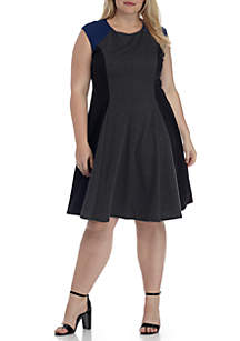 Plus Size Cap Sleeve 3-Color Fit-and-Flare Day Dress
