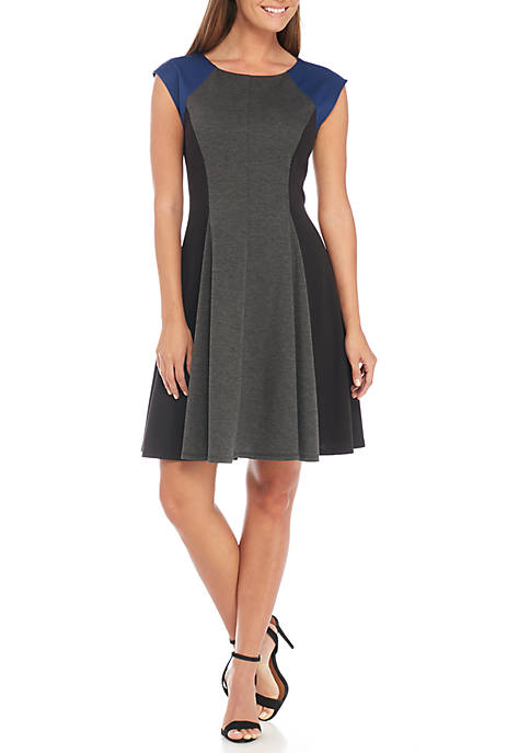 Danny & Nicole Cap Sleeve Fit-and-Flare Dress