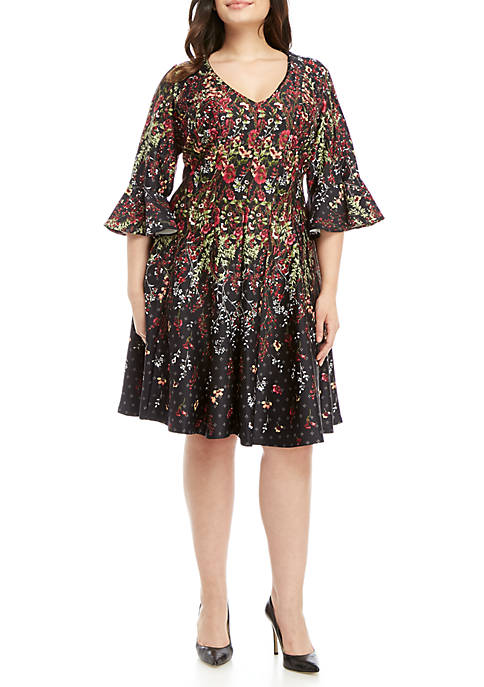 Gabby Skye Plus Size Printed Fit and Flare