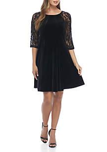 3/4 Lace Sleeve Velvet Shift Dress