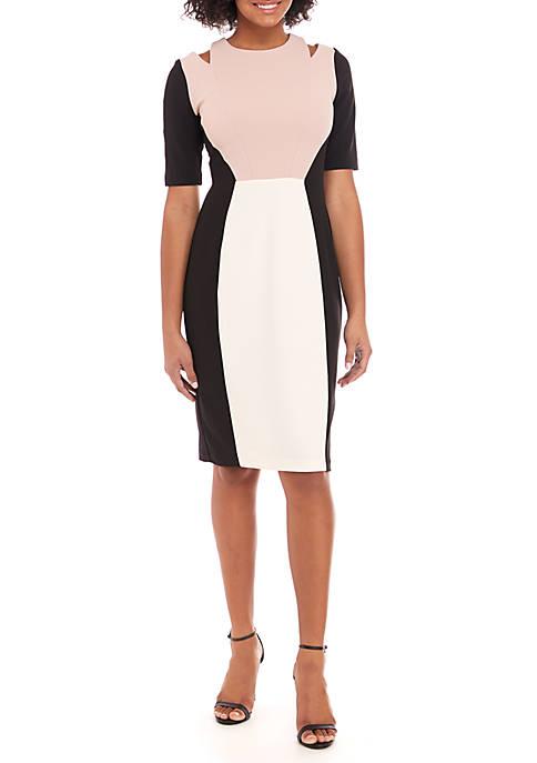 Gabby Skye Short Sleeve Colorblock Sheath Dress