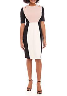Short Sleeve Colorblock Sheath Dress