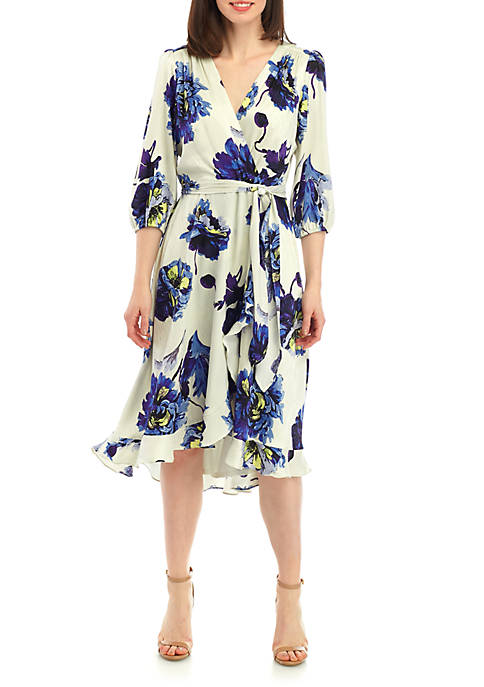 Large FLoral Chiffon Faux Wrap Dress