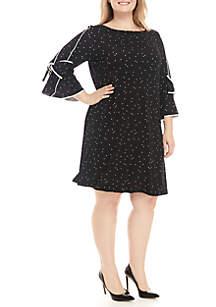 Plus Size 3/4 Sleeve Polka Dot Dress