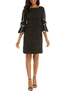 3/4 Bow Sleeve Dot Shift Dress