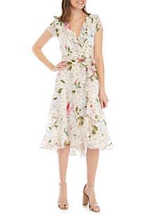 Gabby Skye Short Sleeve Chiffon Faux Wrap Dress