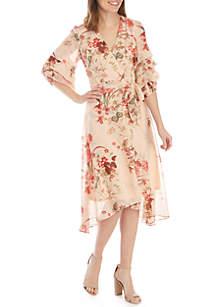 Gabby Skye Chandelier Sleeve Chiffon Wrap Dress
