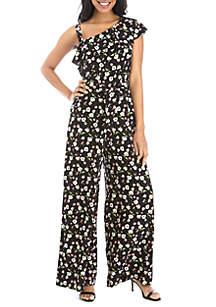 e71829bb334 ... Gabby Skye One Shoulder Tiny Floral Jumpsuit