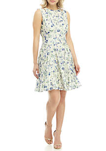 Gabby Skye Sleeveless with Shoulder Cutouts Fit and Flare Lace Dress