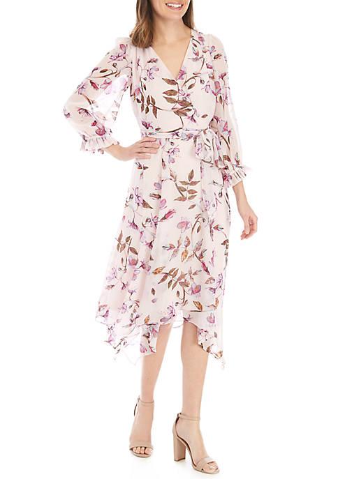 Gabby Skye Floral Chiffon Faux Wrap Dress