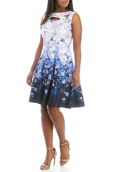 Plus Size Cutout Floral Fit and Flare Dress