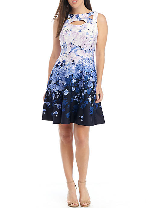 Sleeveless Cutout Floral Fit and Flare Dress