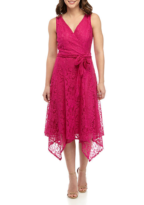 Gabby Skye Sleeveless Lace Faux Wrap Dress