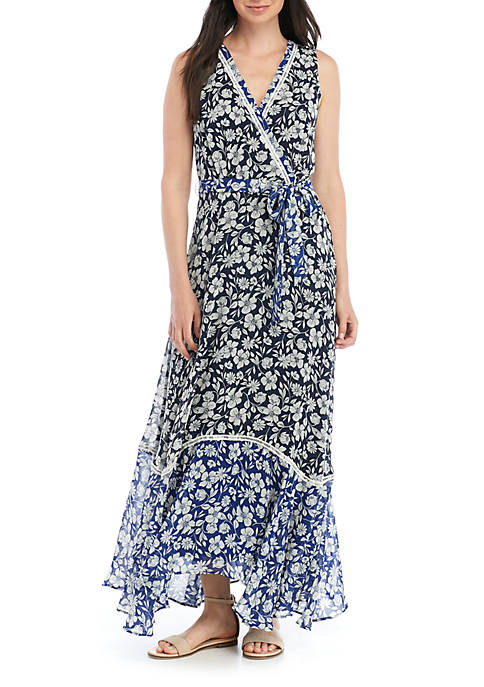 Gabby Skye Printed Print Faux Wrap Maxi Dress