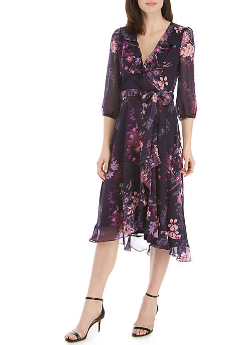 Gabby Skye 3/4 Sleeve Chiffon Faux Wrap Dress