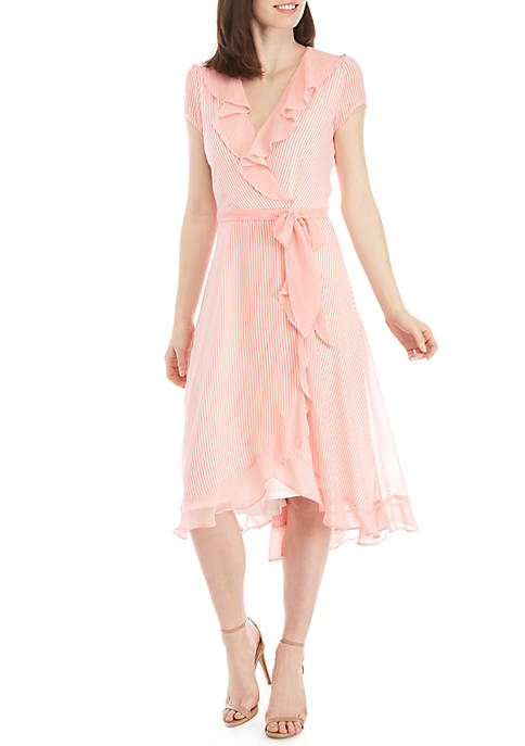 Short Sleeve Chiffon Stripe Faux Wrap Dress