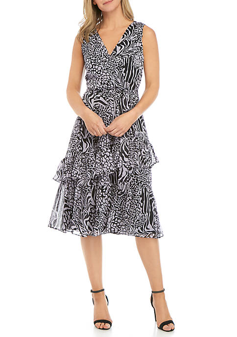 Sleeveless Faux Wrap Chiffon Animal Print Dress