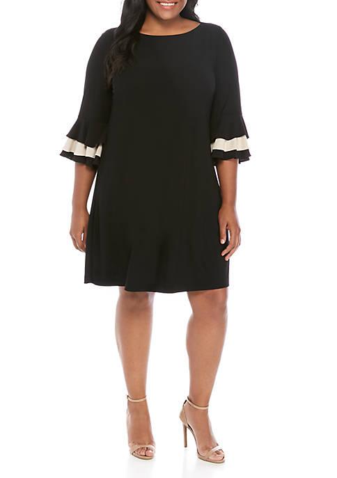 Gabby Skye Plus Size 3/4 Contrast Sleeve Cha