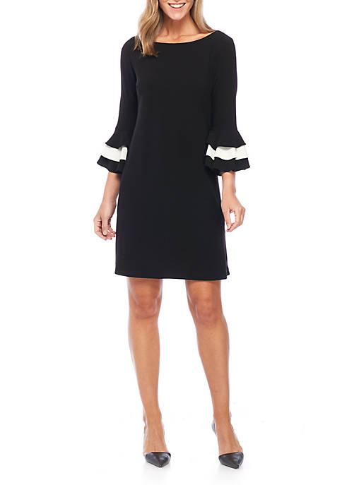 Gabby Skye Contrast Sleeve Shift Dress