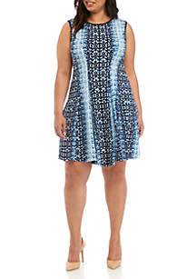 Gabby Skye Plus Size Sleeveless Graphic Fit and Flare Dress