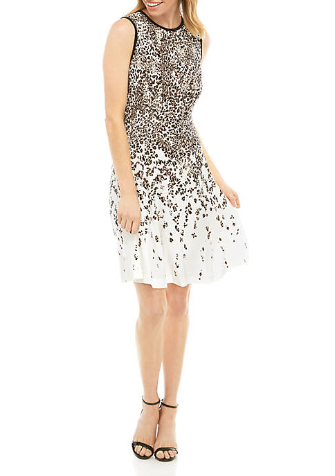 Gabby Skye Womens Animal Print Fit and Flare