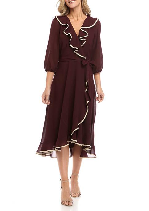 Gabby Skye Womens Tipped Ruffle Wrap Dress