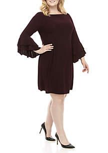 Gabby Skye Plus Size 3/4 Bell Sleeve Solid Dress