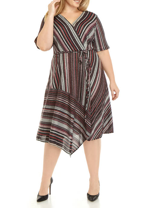 Plus Size Hacci Multistripe Wrap Dress