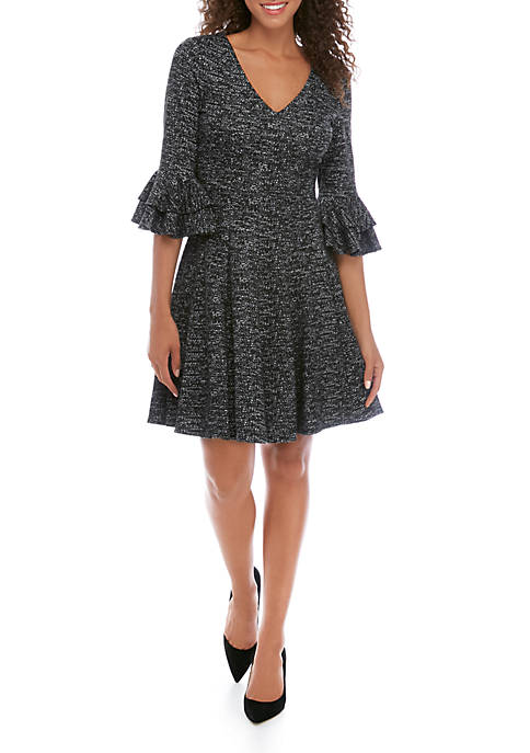 Gabby Skye Womens Bell Sleeve Textured Knit Dress