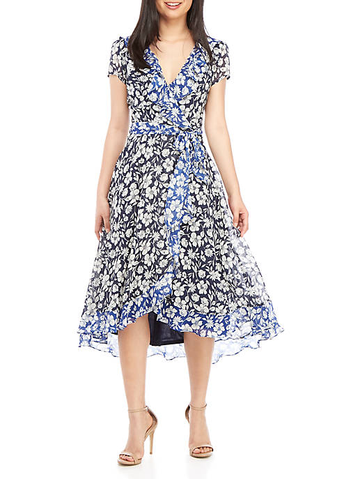 Gabby Skye Short Sleeve Floral Wrap Dress