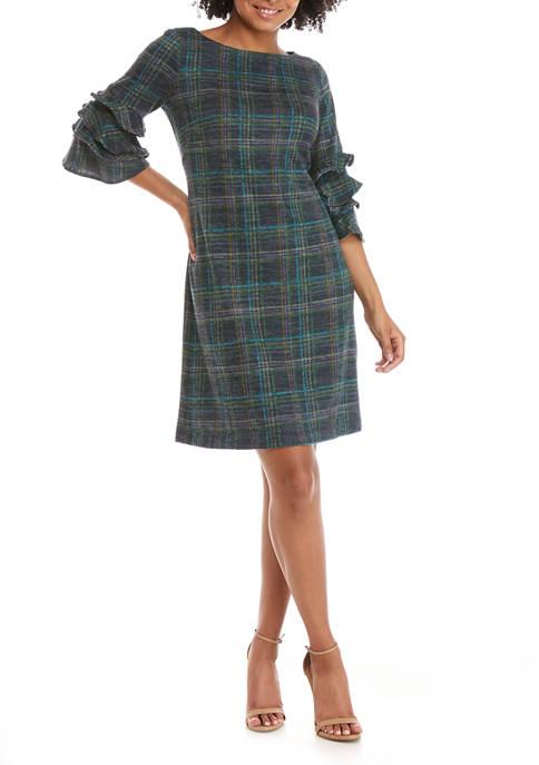 Womens Ruffle Sleeve Plaid Hacci Dress