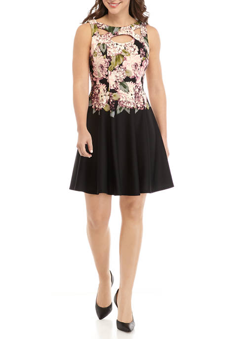 Petite Sleeveless Keyhole Floral Fit and Flare Dress