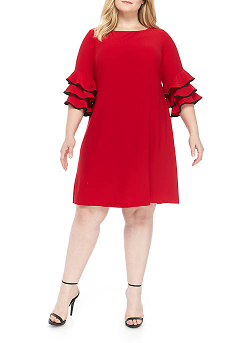 Gabby Skye Plus Size Cha Cha Trim Dress