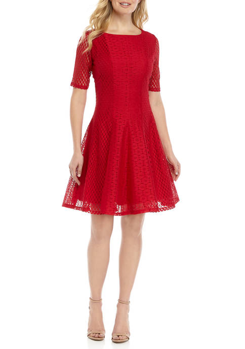 Womens 3/4 Sleeve Lace Fit and Flare Dress