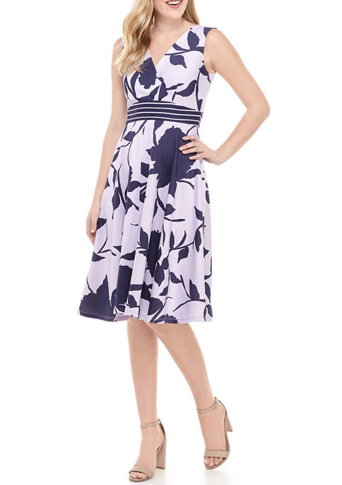 Womens V Neck Empire Waist Floral Dress