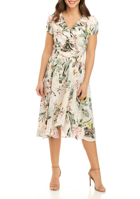 DN Designs Womens Ruffle Floral Faux Wrap Dress