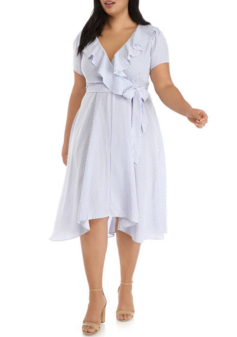 DN Designs Plus Size Ruffle Surplice Dress