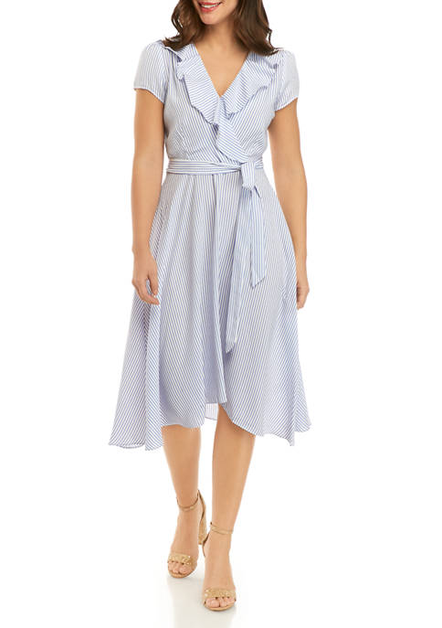DN Designs Womens Ruffle Stripe Faux Wrap Dress