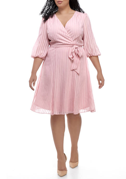 Gabby Skye Plus Size Pleated Faux Wrap Dress