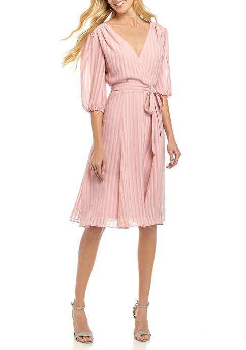 Womens 3/4 Sleeve Tie Waist Dress